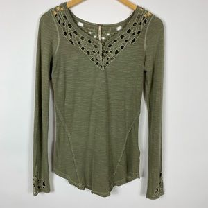 Free People Olive XS Long Sleeve Crochet Henley